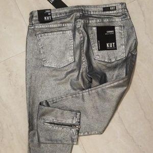 Kut Metallic Silver Cropped Jean's Size 6 New
